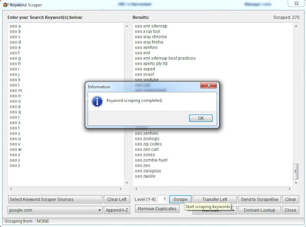 keyword scraper complete