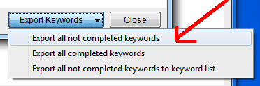 exporting non complete keywords